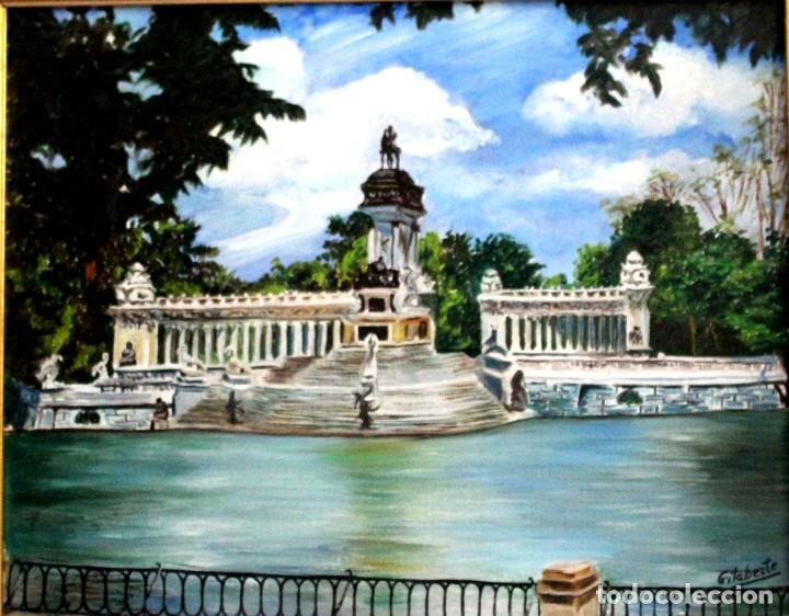 Arte: Retiro de Madrid obra de Gilaberte incluyo marco - Foto 3 - 264163068