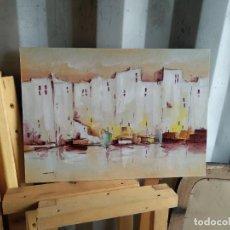 Arte: CUADRO BARCOS OLEO. Lote 264224364
