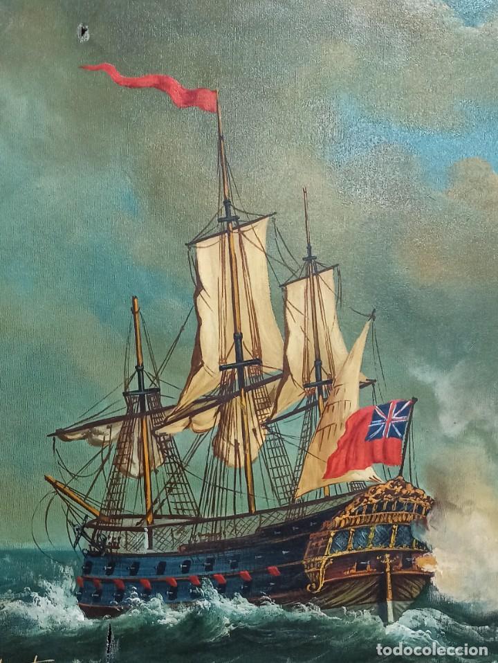 Arte: Batalla naval. Óleo sobre lienzo firmado. Gran tamaño. PF - Foto 2 - 264289320