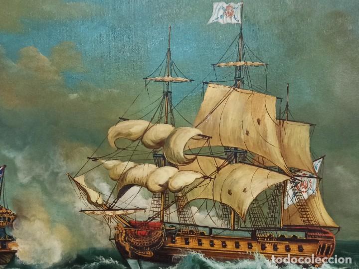 Arte: Batalla naval. Óleo sobre lienzo firmado. Gran tamaño. PF - Foto 3 - 264289320