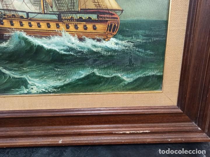 Arte: Batalla naval. Óleo sobre lienzo firmado. Gran tamaño. PF - Foto 4 - 264289320