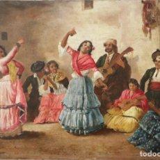 Arte: BAILE GITANO. LUIS DEL ÁGUILA Y ACOSTA (JEREZ 1860-1920). ÓLEO SOBRE TABLA.. MIDE 40 X 27 CM.. Lote 264466374