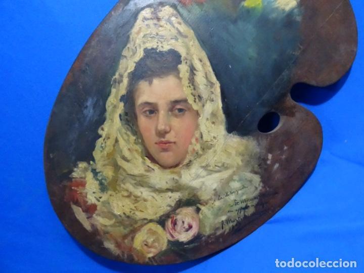 Arte: ÓLEO SOBRE PALETA DE ESCUELA VALENCIANA. J. MARTIN MARQUÉS. DEDICADO A MERCEDES MOLINA. - Foto 2 - 264695704
