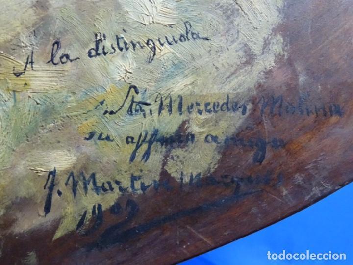 Arte: ÓLEO SOBRE PALETA DE ESCUELA VALENCIANA. J. MARTIN MARQUÉS. DEDICADO A MERCEDES MOLINA. - Foto 20 - 264695704