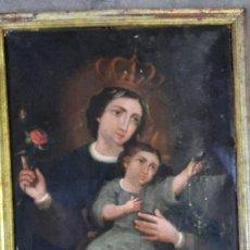 Arte: PINTURA AL OLEO COLONIAL CON MARCO DE EPOCA,VIRGEN CON NIÑO SIGLO XVIII. Lote 264708234