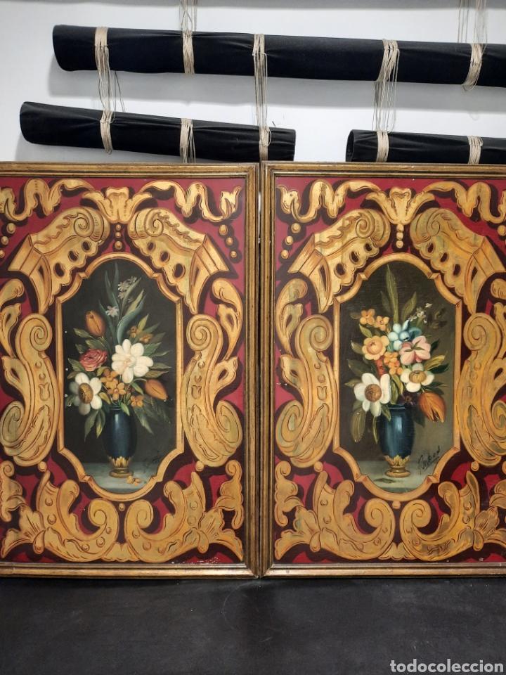 2 ANTIGUAS PINTURAS SOBRE TABLA PAN DE ORO FIRMADAS (Arte - Pintura - Pintura al Óleo Moderna sin fecha definida)
