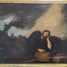Arte: PINTURA AL OLEO SOBRE LIENZO FIN DEL XVIII PRINCIPIOS XIX MARCO DE EPOCA DORADO,PERSONAJE DURMIENDO. Lote 264807964