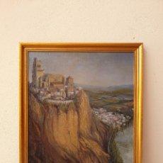 Arte: FIDEL TELLO REPISO, (ARACENA, HUELVA 1925). VISTA DE CIUDAD Y ACANTILADO. ÓLEO SOBRE TABLA.. Lote 264839374