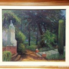 Arte: FIDEL TELLO REPISO, (ARACENA, HUELVA 1925). JARDÍN INTERIOR. ÓLEO SOBRE LIENZO. HACIA 1973.. Lote 264844289