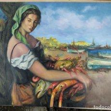 Arte: OLEO SOBRE LIENZO DEL PINTOR ILICITANO TOMAS ALMELA(MUGER EN EL PUERTO). Lote 265342859