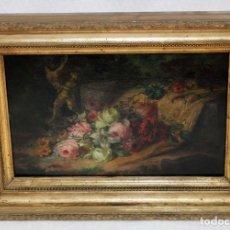 Arte: SALVADOR PLA I BÓ ( SUECA, VALENCIA 1848 - ? ) - BODEGON FLORAL - OLEO TABLA - 1876.. Lote 265450684