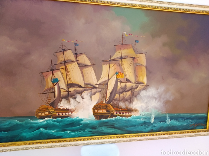 Arte: Pintura oleo sobre lienzo ,batalla naval ,escaramuza ,mar Bravo ,firmado ángulo inferio La orden - Foto 2 - 265480549