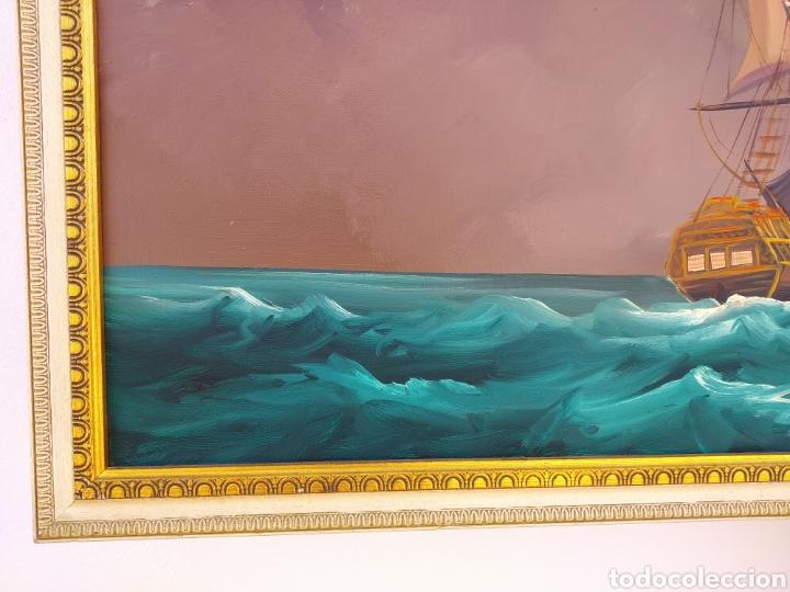Arte: Pintura oleo sobre lienzo ,batalla naval ,escaramuza ,mar Bravo ,firmado ángulo inferio La orden - Foto 4 - 265480549