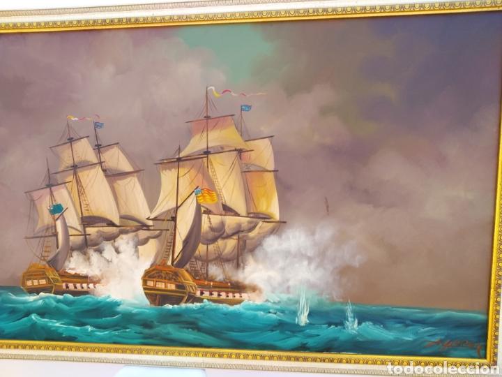 Arte: Pintura oleo sobre lienzo ,batalla naval ,escaramuza ,mar Bravo ,firmado ángulo inferio La orden - Foto 5 - 265480549
