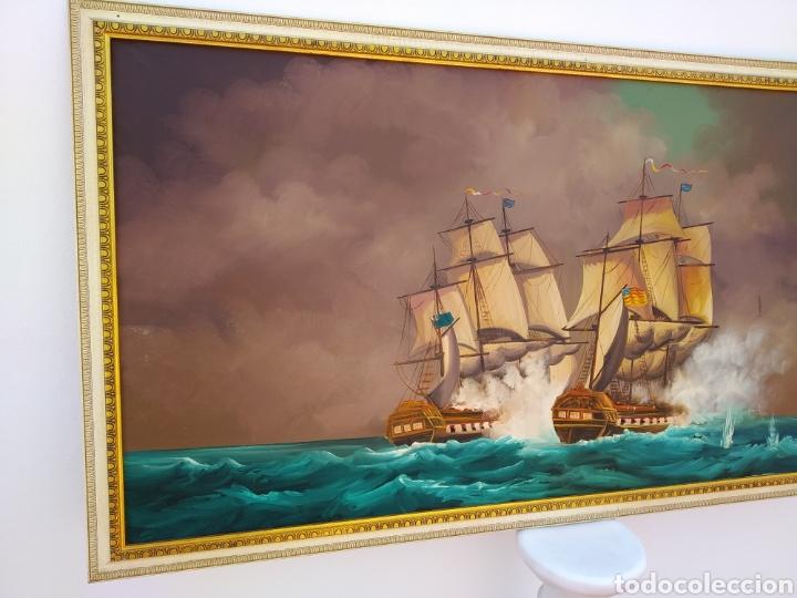 Arte: Pintura oleo sobre lienzo ,batalla naval ,escaramuza ,mar Bravo ,firmado ángulo inferio La orden - Foto 6 - 265480549