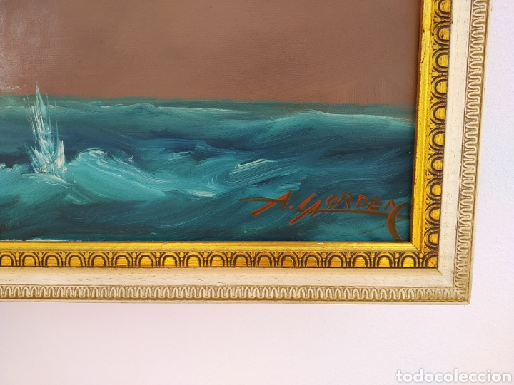 Arte: Pintura oleo sobre lienzo ,batalla naval ,escaramuza ,mar Bravo ,firmado ángulo inferio La orden - Foto 7 - 265480549