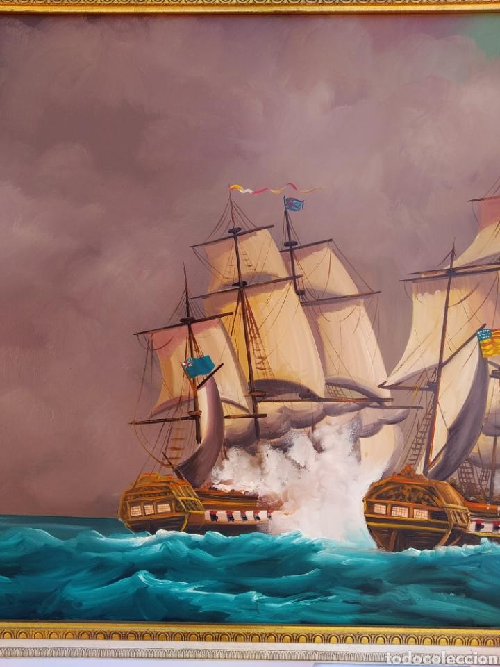 Arte: Pintura oleo sobre lienzo ,batalla naval ,escaramuza ,mar Bravo ,firmado ángulo inferio La orden - Foto 9 - 265480549