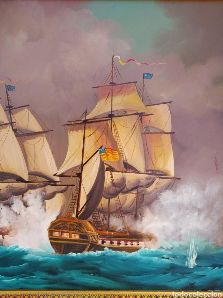 Arte: Pintura oleo sobre lienzo ,batalla naval ,escaramuza ,mar Bravo ,firmado ángulo inferio La orden - Foto 10 - 265480549