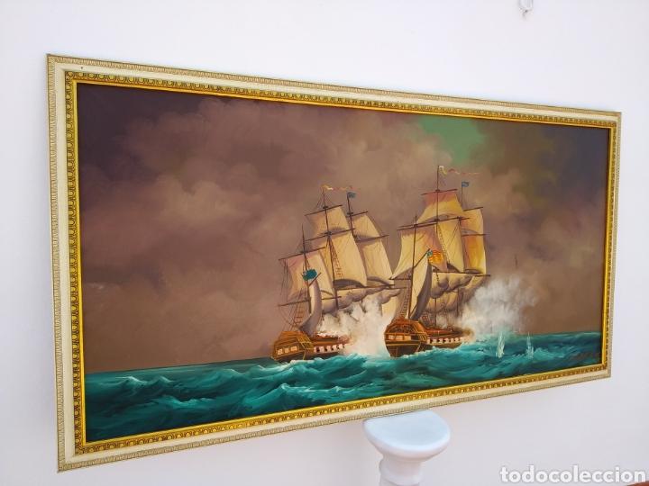 Arte: Pintura oleo sobre lienzo ,batalla naval ,escaramuza ,mar Bravo ,firmado ángulo inferio La orden - Foto 11 - 265480549