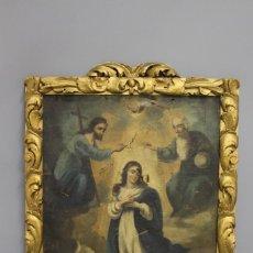 Arte: CUADRO DE LA CORONACIÓN DE LA VIRGEN DE FINALES DEL SIGLO XVIII. Lote 265659924