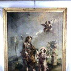Arte: ESCUELA COLONIAL ~ PERU O MÉJICO~ SIGLO XVIII ~SAN JOSÉ Y EL NIÑO~ FIRMADO A ESTUDIAR. MARCO EPOCA. Lote 265721879
