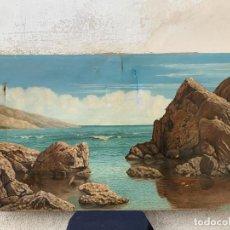 Arte: CUADRO GRAN OLEO MARINA PAISAJE MAR ROCAS CARBONELL PPIO S XX 60X110CMS. Lote 265952558