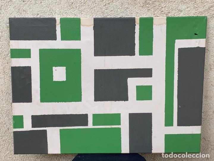 CUADRO OLEO ABSTRACTO VERDE GRIS FORMAS GEOMETRICAS CIUDAD VISTA AEREA MANZANAS BLOQUES 50X70CMS (Arte - Pintura - Pintura al Óleo Moderna sin fecha definida)