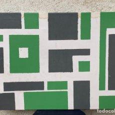 Arte: CUADRO OLEO ABSTRACTO VERDE GRIS FORMAS GEOMETRICAS CIUDAD VISTA AEREA MANZANAS BLOQUES 50X70CMS. Lote 265952693