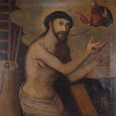 Arte: ÓLEO SOBRE LIENZO CRISTO CON DIOS PADRE ESCUELA COLONIAL SIGLO XVIII. Lote 266056488