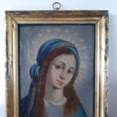 Arte: VIRGEN ESCUELA COLONIAL SIGLO XVII, POSIBLEMENTE MEJICANA. ÓLEO SOBRE LIENZO EN TABLA.. Lote 266476643