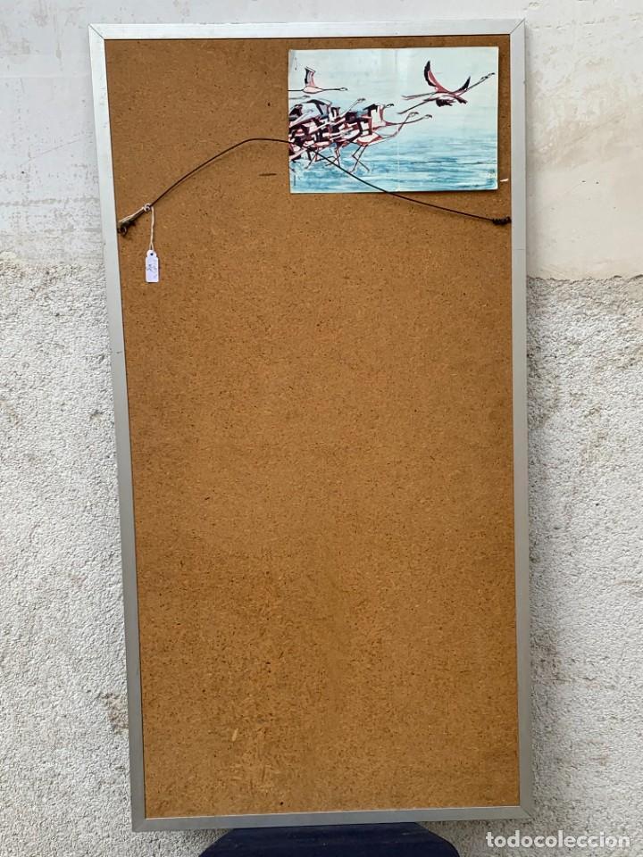 Arte: CUADRO ALUMINIO PINTADO CLAUDE VIEW FRANCE CARDOS AZULES AÑOS 60 84X44CMS - Foto 2 - 266548438