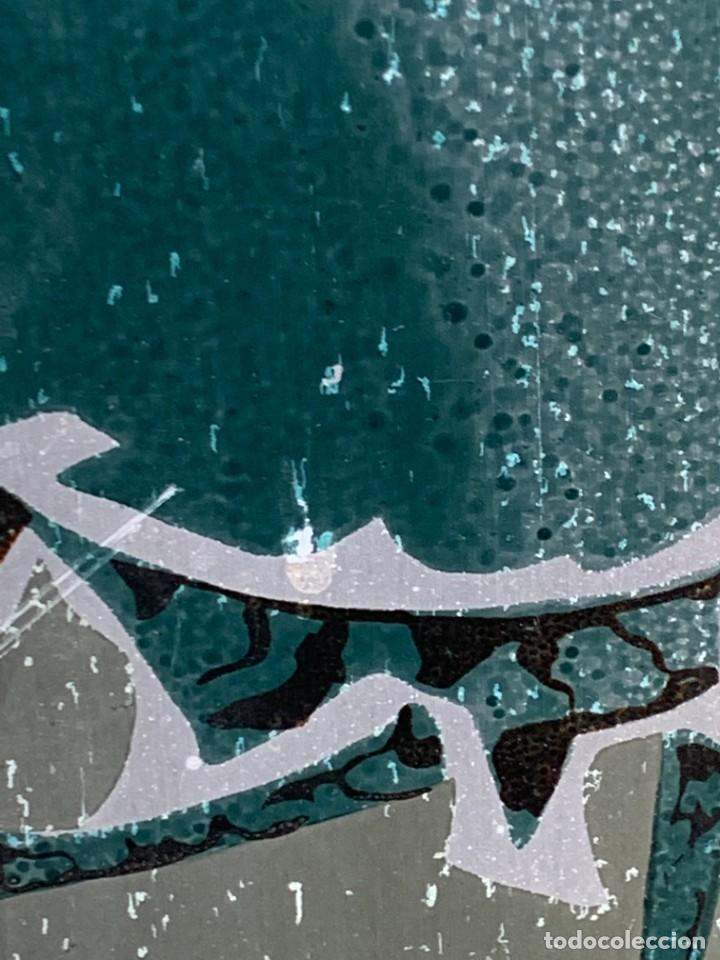 Arte: CUADRO ALUMINIO PINTADO CLAUDE VIEW FRANCE CARDOS AZULES AÑOS 60 84X44CMS - Foto 14 - 266548438