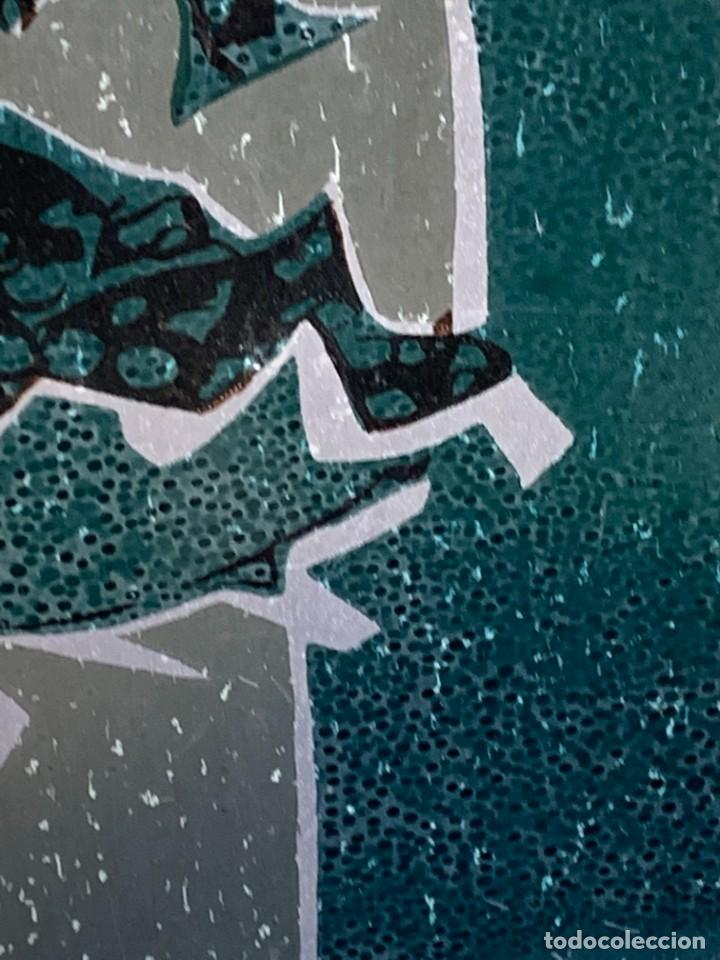 Arte: CUADRO ALUMINIO PINTADO CLAUDE VIEW FRANCE CARDOS AZULES AÑOS 60 84X44CMS - Foto 19 - 266548438