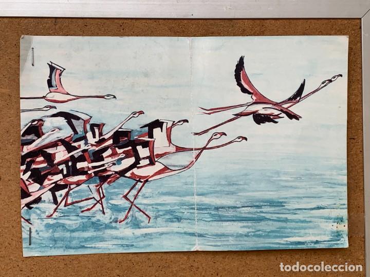 Arte: CUADRO ALUMINIO PINTADO CLAUDE VIEW FRANCE CARDOS AZULES AÑOS 60 84X44CMS - Foto 25 - 266548438