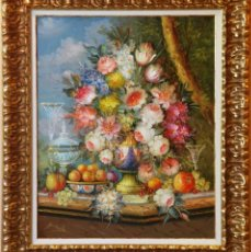 Arte: ROBERTO MICHEL - JAÉN 1.944 ÓLEO NATURALEZA MUERTA OBRA DE GRAN FORMATO. Lote 266557883