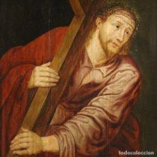 "Arte: ANTIGUA TABLA DEL SIGLO XVII ""CRISTO LLEVANDO LA CRUZ"". Lote 266701208"