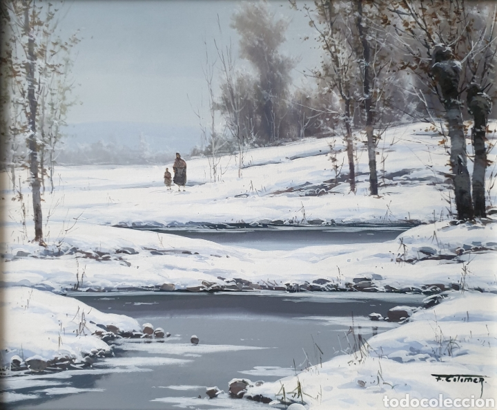 Arte: Fermín Colomer Valls (Sant Feliu de Pallarols, 1962) - Paisaje Nevado con Figuras.Oleo/Tela.Firmado. - Foto 2 - 266760263