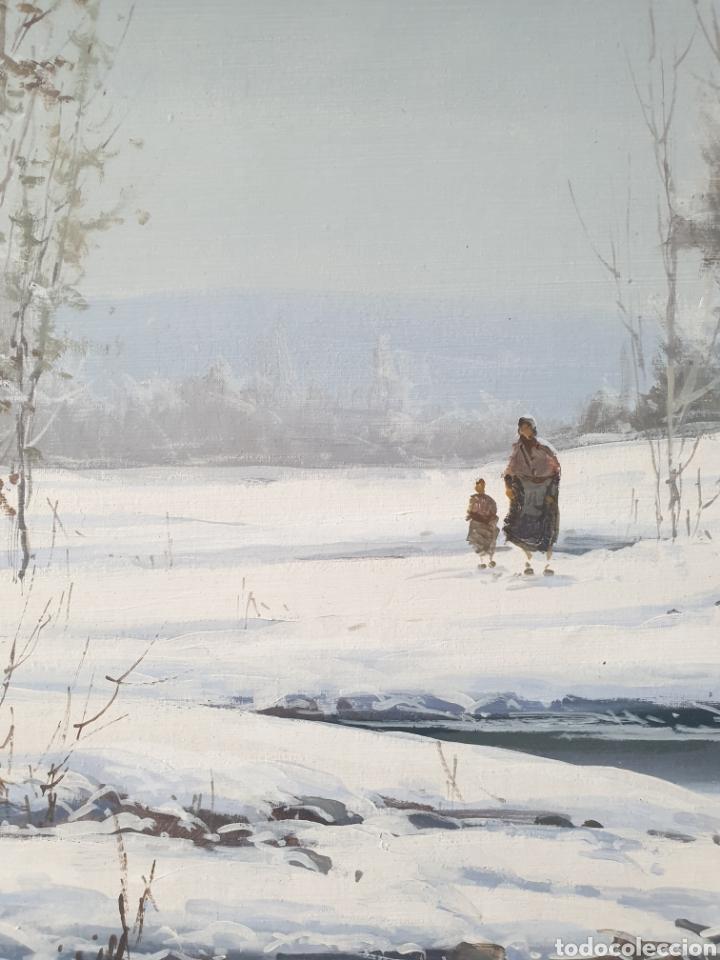 Arte: Fermín Colomer Valls (Sant Feliu de Pallarols, 1962) - Paisaje Nevado con Figuras.Oleo/Tela.Firmado. - Foto 3 - 266760263