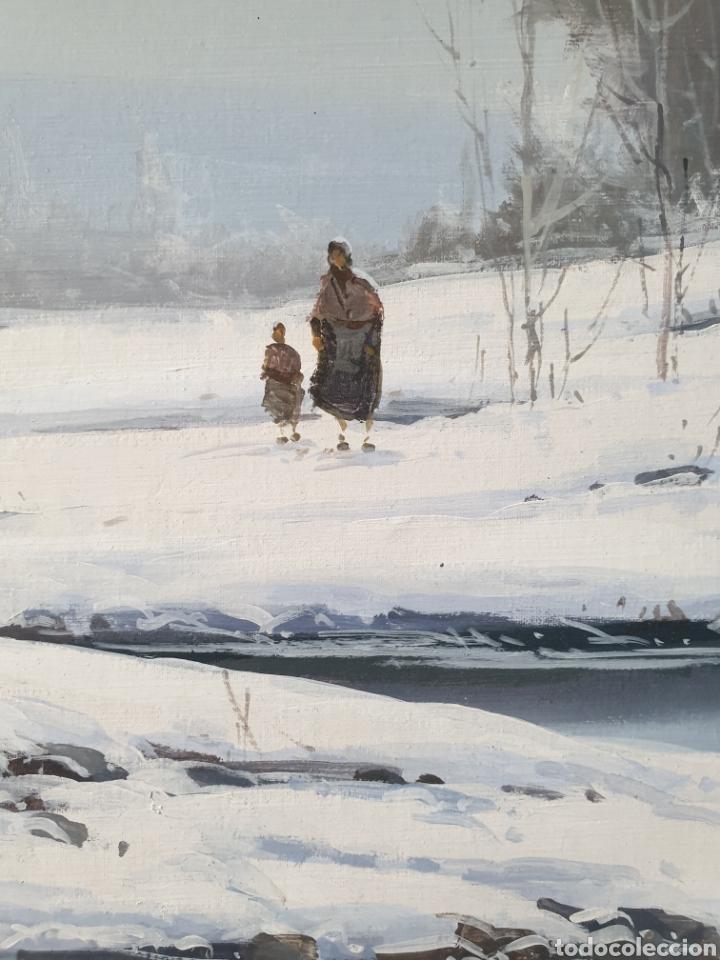 Arte: Fermín Colomer Valls (Sant Feliu de Pallarols, 1962) - Paisaje Nevado con Figuras.Oleo/Tela.Firmado. - Foto 4 - 266760263