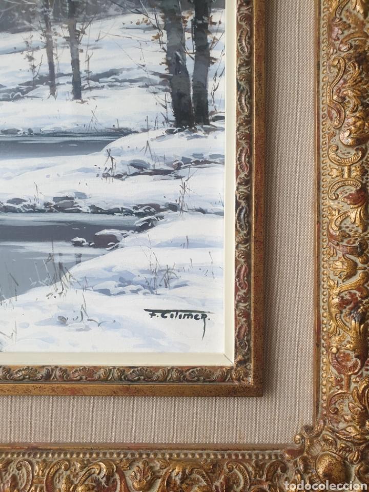 Arte: Fermín Colomer Valls (Sant Feliu de Pallarols, 1962) - Paisaje Nevado con Figuras.Oleo/Tela.Firmado. - Foto 5 - 266760263