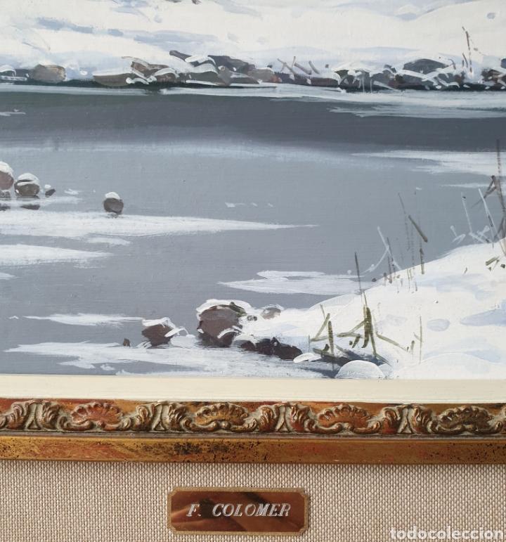 Arte: Fermín Colomer Valls (Sant Feliu de Pallarols, 1962) - Paisaje Nevado con Figuras.Oleo/Tela.Firmado. - Foto 6 - 266760263