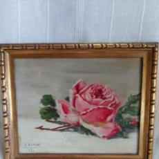 Arte: ROSA PINTURA AL OLEO 1931 DE V. BORNAY. Lote 266847654