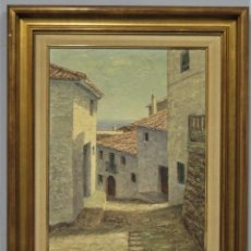 Arte: VISTA DE CALLE DE ALTEA. OLEO S/ TABLE. A. DIRCKEN. Lote 266955409