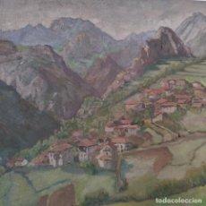 Arte: PAISAJE DE ASTURIANO O GALLEGO. ALDEA AL PIE DE LA MONTAÑA. OLEO SOBRE LIENZO . 65 X 54 CM.. Lote 267007819