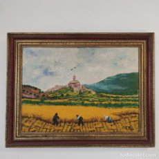 Arte: OLEO SOBRE LIENZO SEGADORES CASTELLANOS. ANTIGUO PUEBLO Y OLIVARES. FIRMADO AIROLA.. Lote 267011974