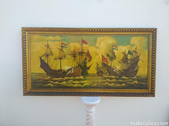 Arte: Antigua pintura oleo sobre lienzo ,batalla naval ,galeones escaramuza ,marco de madera epoca - Foto 3 - 288601263
