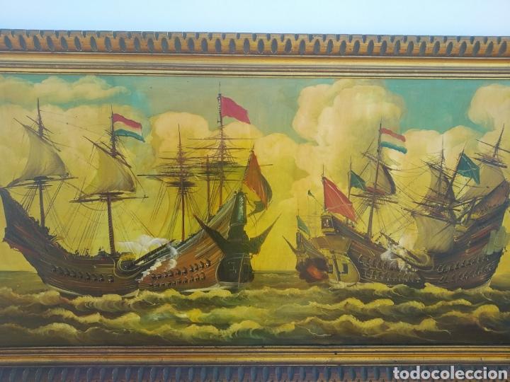 Arte: Antigua pintura oleo sobre lienzo ,batalla naval ,galeones escaramuza ,marco de madera epoca - Foto 4 - 288601263