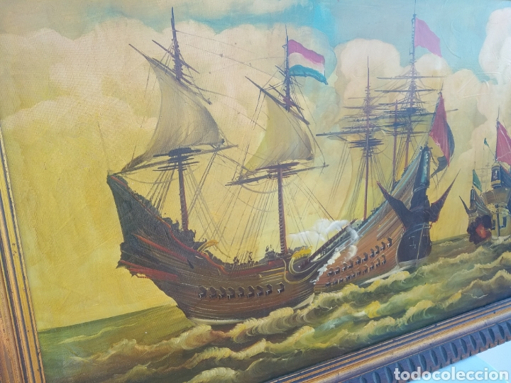 Arte: Antigua pintura oleo sobre lienzo ,batalla naval ,galeones escaramuza ,marco de madera epoca - Foto 5 - 288601263