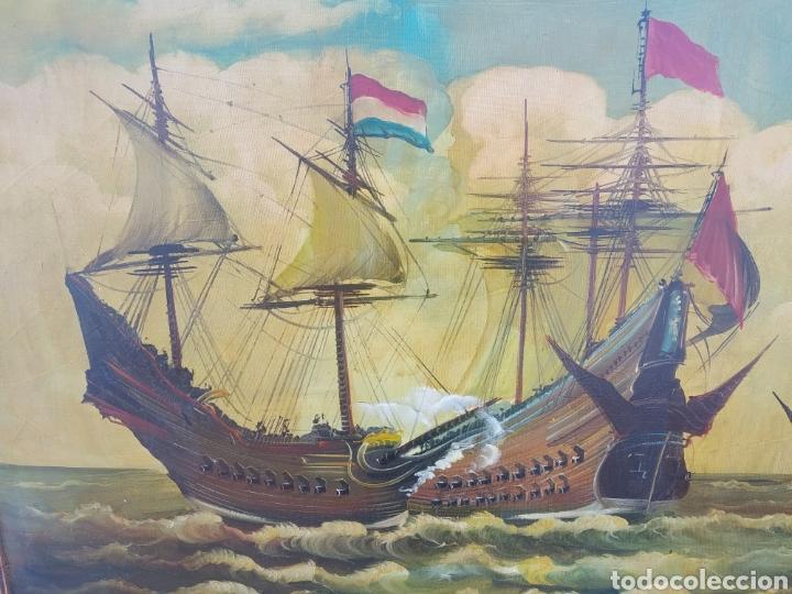 Arte: Antigua pintura oleo sobre lienzo ,batalla naval ,galeones escaramuza ,marco de madera epoca - Foto 6 - 288601263