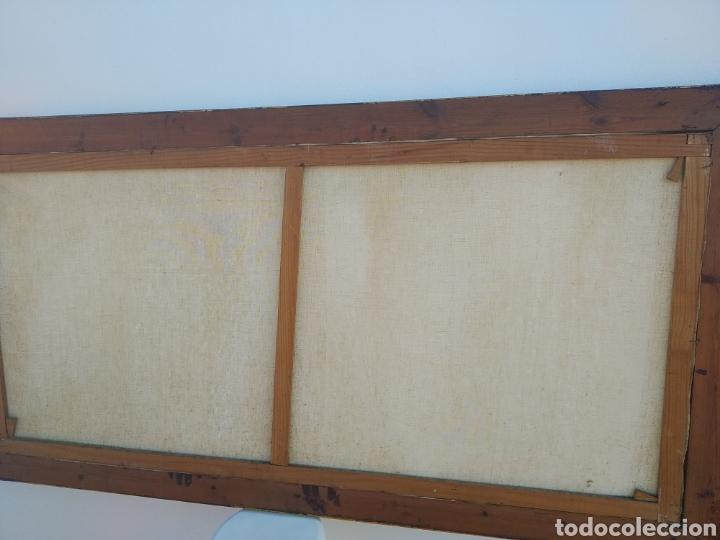 Arte: Antigua pintura oleo sobre lienzo ,batalla naval ,galeones escaramuza ,marco de madera epoca - Foto 7 - 288601263
